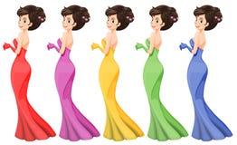 Una señora en diversos vestidos libre illustration