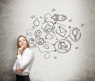 Una señora joven está pensando en un esquema de la optimización en un cierto proceso de negocio Algunos iconos conectados se dibu Imagen de archivo