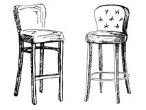 Una sedia da due barre isolata su fondo bianco Illustrazione di vettore in uno stile di schizzo Fotografie Stock