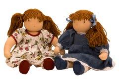 Una seduta delle due bambole di panno Fotografia Stock Libera da Diritti