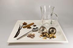 Una selección de ingredientes del té Fotografía de archivo libre de regalías