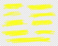 Una selección de la línea de marcadores del movimiento Líneas del cepillo del punto culminante del vector El bosquejo del dibujo  libre illustration