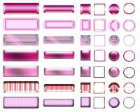 Una selección rosada hermosa de sitio web abotona en diversas formas Imagenes de archivo