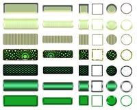Una selección verde hermosa de sitio web abotona en diversas formas Imagen de archivo libre de regalías