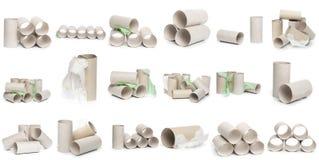 Una selezione dei tubi della carta igienica del cartone in varie disposizioni isolati su un fondo bianco immagine stock libera da diritti