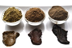 Una selezione di vario hennè naturale & di x28; Inermis& x29 di Lawsonia; il colore dei capelli tinge la miscela bagnata su bianc immagini stock libere da diritti