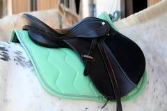 Una sella nera e un tappeto verde disposti sul retro del cavallo bianco fotografie stock