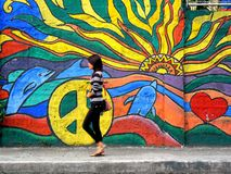 Una señora que camina más allá de un arte de la pared de la calle Fotografía de archivo libre de regalías