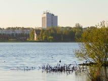 Una sera calma piacevole su un lago della cittadina fotografie stock