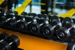Una serie completa di teste di legno del fisso-peso, attrezzatura per l'allenamento del peso, routine su un buio ha offuscato il  Fotografie Stock
