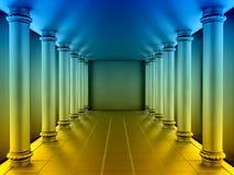Una serie de columnas del color en el pasillo anular 3d rinden stock de ilustración