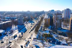 Una serie di panorami di Minsk dai tetti delle costruzioni Fotografia Stock Libera da Diritti