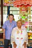 Una serie di riti di inizio che sono cambiato al nuovo uomo al tempio Tailandia Fotografie Stock Libere da Diritti