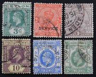 Una serie di vecchi francobolli delle colonie inglesi Fotografia Stock
