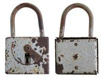 Una serratura di porta arrugginita d'annata è stata macchiata con smalto grigio fotografia stock