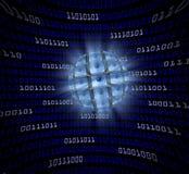 Una sfera dei monitor con i bulbi oculari in un campo curvo della vangata blu Immagini Stock