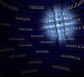 Una sfera dei monitor con i bulbi oculari in un campo curvo della vangata blu Immagine Stock Libera da Diritti