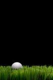 Una sfera di golf bianca in erba verde fotografia stock