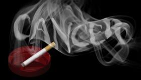 Una sigaretta bruciante in un portacenere rosso Immagine Stock