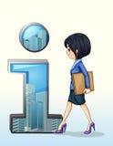 Una signora che cammina verso il simbolo di numero uno Immagini Stock