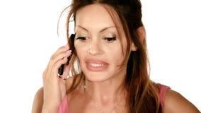 Una signora che litiga sul telefono video d archivio