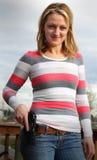 Proprietario di pistola felice Fotografie Stock Libere da Diritti