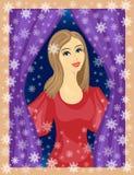 Una signora piacevole guarda fuori la finestra La ragazza sta sorridendo, lei è di buon umore Nell'inverno della via, i bei fiocc illustrazione di stock