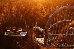 Una silla de mimbre en la hierba en el campo y una tabla con una bandeja con los vidrios de vino y de fruta Puesta del sol hermos Fotografía de archivo libre de regalías