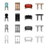 Una silla, un guardarropa, un sofá, una mesa de comedor Los muebles y los interiores caseros fijaron iconos de la colección en ne Imagenes de archivo