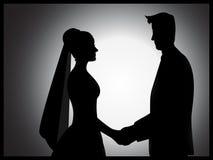 Silueta de los pares de la boda Imagen de archivo