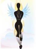 Una silueta de un ángel de la muchacha Foto de archivo