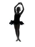 Una silueta del baile del bailarín de ballet de la bailarina de la niña Imagen de archivo