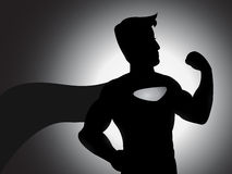 Silueta poderosa del super héroe Fotografía de archivo