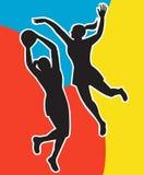 una siluetta dei due giocatori del netball Immagini Stock