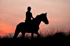Una siluetta del cavaliere Fotografie Stock