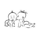 Una siluetta del lineart di giorno del ` s del biglietto di S. Valentino di due piccoli infanti Immagini Stock Libere da Diritti