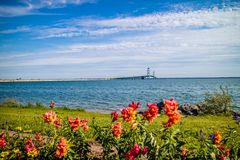 Una siluetta del ponte di Mackinac in Mackinac, Michigan fotografia stock