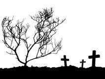 Una siluetta dell'incrocio tre e dell'albero morto sul monticello isolato su fondo bianco illustrazione vettoriale