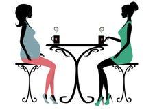 Una siluetta di due donne alla moda Fotografia Stock