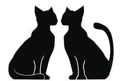 Una siluetta di due gatti illustrazione vettoriale