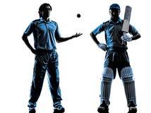 Una siluetta di due giocatori del cricket Fotografia Stock Libera da Diritti