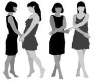 Una siluetta di due giovani donne snelle royalty illustrazione gratis