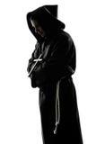 Preghiera della siluetta del sacerdote del monaco dell'uomo Immagini Stock Libere da Diritti