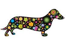 Una siluetta di un cane con i fiori e le stelle Immagine Stock Libera da Diritti