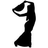 Una siluetta nera del ballerino femminile di flamenco Fotografie Stock