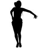Una siluetta nera del ballerino femminile di flamenco Fotografia Stock Libera da Diritti