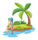 Una sirena bonita en la isla stock de ilustración