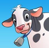 Vaca sonriente con un cencerro Fotografía de archivo