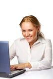 Una sonrisa feliz de la mujer de negocios Foto de archivo libre de regalías