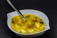 Una sopa deliciosa con las verduras y los pescados en un fondo negro Fotos de archivo libres de regalías
